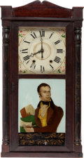 Political:3D & Other Display (pre-1896), Henry Clay: A Superb 1830s Mantel Clock with Reverse Glass Portrait of a Youthful Clay. ...