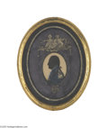 Political:3D & Other Display (pre-1896), Historic Original Reverse Silhouette Memorial Painting on Glass ofGeorge Washington Early 19th century reverse painting on ...