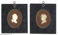 Political:3D & Other Display (pre-1896), Carved Ivory Portraits of George and Martha Washington Circa 1830, George and Martha Washington matching pair of carved ivo...
