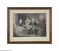 """Political:3D & Other Display (pre-1896), Elegant Large 1864-dated """"Proof"""" of George Washington and his Family, Signed by the Engraver, William Sartain Sartain was on..."""