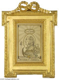 Political:3D & Other Display (pre-1896), Superb 1790s Hand-colored Pen and Ink Portrait of John Adams inEarly Ornate Gold-leafed Frame It is difficult to decide whe...