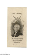 Political:Ribbons & Badges, Early Federalist Paper Ribbon This may be a proof copy for the silk version, or intended to be pinned for wearing. The Was...