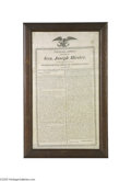 Political:Textile Display (pre-1896), Magnificent 1820 Inaugural Address by Pennsylvania Governor GeneralJoseph Hiester on Silk Dated 1820, silk printed broadsid...