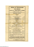 """Political:Memorial (1800-present), """"Order...of the Funeral Ceremonies of the Late Hon. John Quincy Adams"""" March 11, 1848 broadside, """"Order of Procession of th..."""
