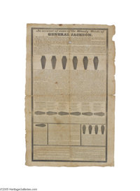 "1828 Incredibly Rare Anti-Jackson ""Coffin Broadside"" An account of some of the Bloody Deeds of General Jackson..."
