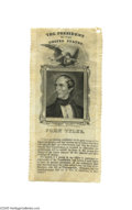 Political:Ribbons & Badges, Extremely Rare and Important John Tyler Silk Ribbon No president is tougher for collectors than Tyler as he assumed the pres...