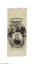 """Political:Ribbons & Badges, Pristine William Henry Harrison Silk Ribbon 3"""" x 7 1/4"""" silk ribbon issued for """"Genl. W. H. Harrison. Hero of the Thames Oc..."""