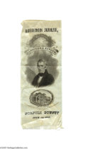 "Political:Ribbons & Badges, Attractive William Henry Harrison Silk Ribbon 2 1/2"" x 6 1/2"" silk ribbon issued for the ""Harrison Jubilee. Norfolk County J..."