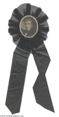 Political:Memorial (1800-present), 1841 William Henry Harrison Mourning Ribbon Nineteenth century mourning ribbons were often campaign ribbons with an added bl...