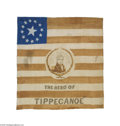 "Political:Textile Display (pre-1896), Dramatic Large 1840 William Henry Harrison Campaign Flag The 1840election saw the emergence of the ""political flag,"" a cam..."