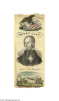 Political:Ribbons & Badges, Beautiful Multi-color 1844 Henry Clay Ribbon Believed to be the first full-color political ribbon design. Below his central...