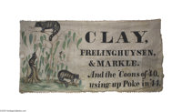 Magnificent, Museum-quality 1844 Henry Clay Cloth Banner Large cotton fabric banner from Pennsylvania, touting the Whig...