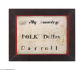 """Political:Textile Display (pre-1896), Unique 1844 Polk and Dallas Silk Flag Measures 11"""" x 14 1/2"""",comprised of three white horizontal panels sewn together with ..."""