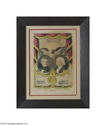 """Political:3D & Other Display (pre-1896), 1844 James K. Polk and George Dallas Grand National Banner PrintThe variety with """"Polk, the Young Hickory, Dallas and Vict..."""