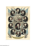 """Political:3D & Other Display (pre-1896), Graphic and Colorful James K. Polk Inaugural Print 10"""" x 14"""" hand-colored small folio lithograph published by J. Baillie in ..."""