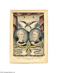 "Political:3D & Other Display (pre-1896), Scarce Taylor and Fillmore Grand National Banner Print 10"" x 14"" hand-colored small folio lithograph published by Nathaniel ..."