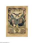 """Political:3D & Other Display (pre-1896), Cass and Butler Grand National Banner Print 10"""" x 14"""" hand-coloredsmall folio lithograph published by Nathaniel Currier in ..."""
