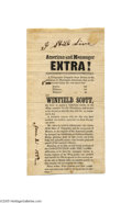Political:Small Paper (pre-1896), Extremely Rare and Significant 1852 Political Campaign Handbill forWinfield Scott Scott is one of the toughest 19th centur...