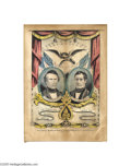 """Political:3D & Other Display (pre-1896), Pierce and King Grand National Banner Print 10"""" x 14"""" hand-colored small folio lithograph published by Nathaniel Currier in ..."""