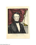 """Political:Small Paper (pre-1896), Striking Franklin Pierce Campaign Print by Currier This small foliolithograph by Nathaniel Currier measures 10"""" x 14"""" and ..."""