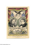 """Political:3D & Other Display (pre-1896), Beautiful Fremont and Dayton Grand National Banner 10"""" x 14"""" hand-colored small folio lithograph published by Nathaniel Curr..."""