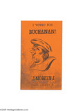"""Political:Small Paper (pre-1896), James Buchanan and John Fremont Metamorphic Card A fun, 2"""" x 3 1/4""""orange card presenting two sides of the 1856 campaign in..."""