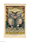 "Political:3D & Other Display (pre-1896), Rare Third Party Fillmore and Donelson Grand National Banner 10"" x14"" hand-colored small folio lithograph published by Nath..."