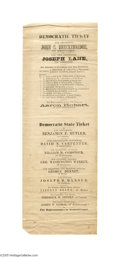 """Political:Small Miscellaneous (pre-1896), Large, Broadside-size 1860 Breckinridge and Lane Electoral Ticket From Massachussetts This 4.75"""" x 13.5"""" paper item is reall..."""
