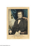 """Political:3D & Other Display (pre-1896), Scarce Campaign Print for Stephen Douglas 10"""" x 14"""" hand-coloredsmall folio lithograph published by Kellogg in Hartford in ..."""