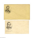 Political:Small Paper (pre-1896), 1860 Patriotic Campaign Covers - Lincoln and Douglas During theCivil War era, it was customary for individuals to send thei...