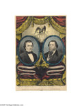 Political:3D & Other Display (pre-1896), Key Currier Grand National Banner Rarity: The 1860 Douglas and Johnson One of the very toughest of this widely-collected se...