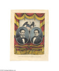 Political:3D & Other Display (pre-1896), Spectacular, Rare 1860 Lincoln and Hamlin Jugate Grand National Banner Print: The Finest We Have Ever Seen With wide border...