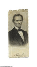 Political:Ribbons & Badges, Important 1860 Abraham Lincoln Silk Campaign Ribbon A series of eight related ribbon designs, four single picture and four ...
