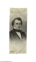 "Political:Ribbons & Badges, Matching 1860 Stephen Douglas Silk Ribbon Douglas, the ""Little Giant,"" is generally considered to have been Abraham Lincoln..."