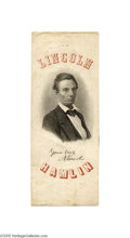 "Political:Ribbons & Badges, Fantastic Large 1860 Abraham Lincoln Ribbon Badge This dramatic 3.25"" x 8.5"" paper ribbon is one of the nicest Lincoln badg..."