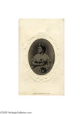 Political:Ferrotypes / Photo Badges (pre-1896), Rare Mary Todd Lincoln Tintype As was often the custom, it was setinto an embossed carte de visite. Date March 7, 1865 (w...
