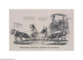 Political:Small Paper (pre-1896), One of the Very Best Varieties of 1860 Currier Political CartoonPrints Marvelous content! The railroad tracks are blocked...