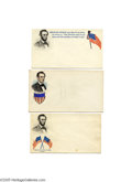Political:Small Paper (pre-1896), Three Lincoln Covers Three multicolored Abraham Lincoln covers.Each has the same portrait -- beardless and with beard adde...