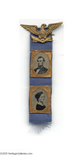 Political:Ferrotypes / Photo Badges (pre-1896), Spectacular Circa 1864 Ferrotype Badge with Abraham Lincoln andWife Mary Todd Many widely-distributed items were produced ...