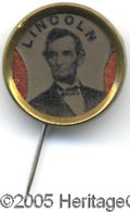Political:Ferrotypes / Photo Badges (pre-1896), Colorful and Attractive 1864 Lincoln Ferrotype This 16 mm stickpinhas a ferrotype portrait of Lincoln with quarter moon cut...