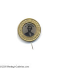 "Political:Ferrotypes / Photo Badges (pre-1896), A Choice 1864-dated Abraham Lincoln Pinback Ferrotype Beautiful""minty"" example of this classic variety, with original pin a..."