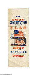 """Political:Ribbons & Badges, 1864 """"The Union, Constitution and the Flag..."""" Patriotic Ribbon Circa 1864, Union patriotic ribbon. Choice very fine. Pap..."""