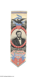 Political:Ribbons & Badges, Gorgeous Woven 1865 Abraham Lincoln Inaugural Ribbon Made by the T. S. Stevens Co., this is the first in a series of woven r...