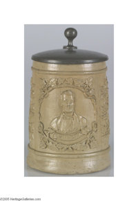 Abraham Lincoln 1864 Campaign Tankard This wonderful campaign item was most probably made for the German-American electo...