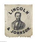 Political:3D & Other Display (pre-1896), Highly Important 1864 Abraham Lincoln Portrait Campaign Banner Of course the most important aspect of this banner is that it...