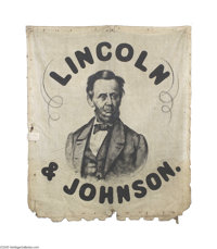Highly Important 1864 Abraham Lincoln Portrait Campaign Banner Of course the most important aspect of this banner is tha...