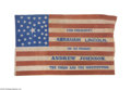 Political:Textile Display (pre-1896), Simply the Finest 1864 Lincoln and Johnson Campaign Flag Banner WeHave Ever Handled This tremendous flag has it all: it is ...