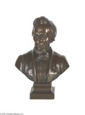 "Political:3D & Other Display (pre-1896), Desktop Abraham Lincoln Bronze Bust 7 1/4"" bronze bust of AbrahamLincoln. A small plaque affixed to the base is incised ""A..."