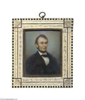 Political:3D & Other Display (pre-1896), Quality Miniature Painting of Abraham Lincoln, Hand-painted on Ivory Abraham Lincoln, 16th U.S. President (1861-1865). Cir...