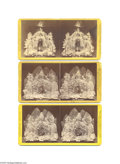 """Political:3D & Other Display (pre-1896), """"Skeleton Leaves"""" Stereoviews of Abraham Lincoln, Charles Sumner, and Henry Ward Beecher 1874, All choice very fine or bett..."""